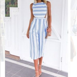 Pants - Gorgeous baby blue and white stripe romper